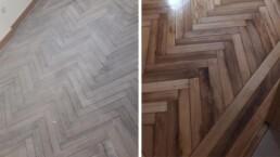 Antes y después de suelos de madera
